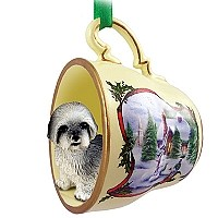 Lhasa Apso Gray w/Sport Cut Tea Cup Snowman Holiday Ornament