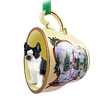 Boston Terrier Tea Cup Snowman Holiday Ornament