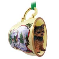 Yorkshire Terrier Puppy Cut Tea Cup Snowman Holiday Ornament