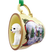 Cockapoo White Tea Cup Snowman Holiday Ornament