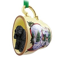 Cocker Spaniel Black Tea Cup Snowman Holiday Ornament