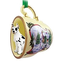 Great Dane Harlequin Tea Cup Snowman Holiday Ornament