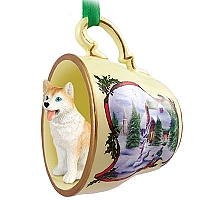 Husky Red & White w/Blue Eyes Tea Cup Snowman Holiday Ornament