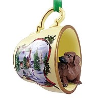Dachshund Red Tea Cup Snowman Holiday Ornament