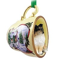 Sheltie Tricolor Tea Cup Snowman Holiday Ornament