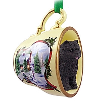Chow Black Tea Cup Snowman Holiday Ornament