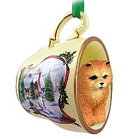 Chow Red Tea Cup Snowman Holiday Ornament