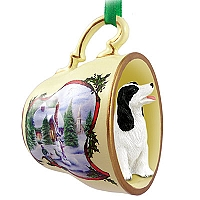 Springer Spaniel Black & White Tea Cup Snowman Holiday Ornament