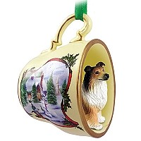 Collie Sable Tea Cup Snowman Holiday Ornament
