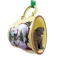 Labrador Retriever Chocolate Tea Cup Snowman Holiday Ornament