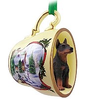 Doberman Pinscher Red w/Cropped Tea Cup Snowman Holiday Ornament