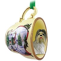 Shih Tzu Mixed Tea Cup Snowman Holiday Ornament