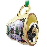 Shih Tzu Black & White Tea Cup Snowman Holiday Ornament