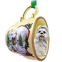 Shih Tzu White Tea Cup Snowman Holiday Ornament