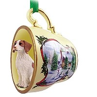 Brittany Brown & White Spaniel Tea Cup Snowman Holiday Ornament