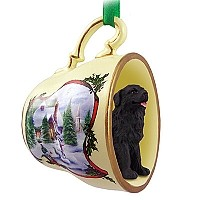 Newfoundland Tea Cup Snowman Holiday Ornament