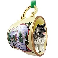 Keeshond Tea Cup Snowman Holiday Ornament