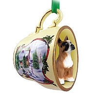 Boxer Tea Cup Snowman Holiday Ornament