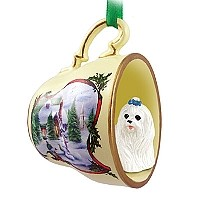 Maltese Tea Cup Snowman Holiday Ornament