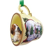 Basset Hound Tea Cup Snowman Holiday Ornament