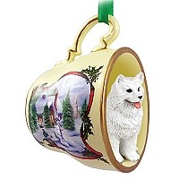 Samoyed Tea Cup Snowman Holiday Ornament