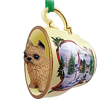 Brussels Griffon Red Tea Cup Snowman Holiday Ornament