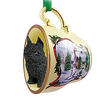Brussels Griffon Black Tea Cup Snowman Holiday Ornament
