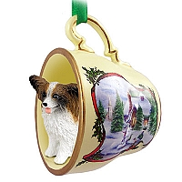 Papillon Brown & White Tea Cup Snowman Holiday Ornament