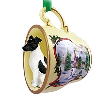 Fox Terrier Black & White Tea Cup Snowman Holiday Ornament