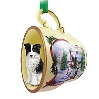 Border Collie Tea Cup Snowman Holiday Ornament