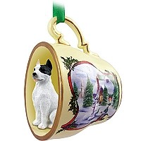 Pit Bull Terrier White Tea Cup Snowman Holiday Ornament