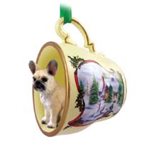 French Bulldog Fawn Tea Cup Snowman Holiday Ornament