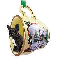 French Bulldog Tea Cup Snowman Holiday Ornament