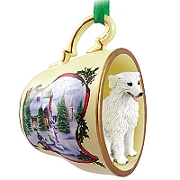 Kuvasz Tea Cup Snowman Holiday Ornament