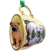 Rhodesian Ridgeback Tea Cup Snowman Holiday Ornament