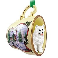 American Eskimo Tea Cup Snowman Holiday Ornament
