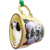 English Setter Belton Blue Tea Cup Snowman Holiday Ornament