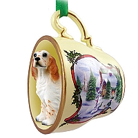 English Setter Belton Orange Tea Cup Snowman Holiday Ornament