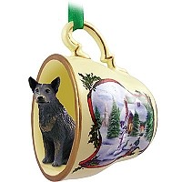 Australian Cattle BlueDog Tea Cup Snowman Holiday Ornament