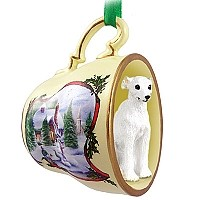 Whippet White Tea Cup Snowman Holiday Ornament
