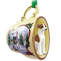 Whippet Brindle & White Tea Cup Snowman Holiday Ornament