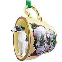 Whippet Gray & White Tea Cup Snowman Holiday Ornament