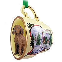 Vizsla Tea Cup Snowman Holiday Ornament