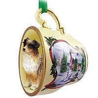 Australian Shepherd Brown Tea Cup Snowman Holiday Ornament
