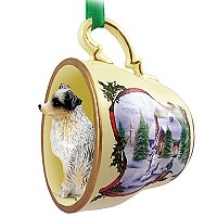 Australian Shepherd Blue w/Docked Tail Tea Cup Snowman Holiday Ornament
