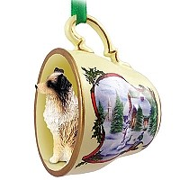 Australian Shepherd Brown w/Docked Tail Tea Cup Snowman Holiday Ornament