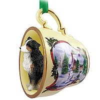 Australian Shepherd Tricolor w/Docked Tail Tea Cup Snowman Holiday Ornament