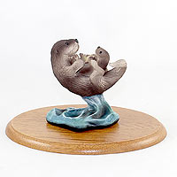 Sea Life Figurines Wooden Base