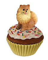 Pomeranian Red Pupcake Trinket Box
