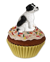Jack Russell Terrier Black & White w/Smooth Coat Pupcake Trinket Box